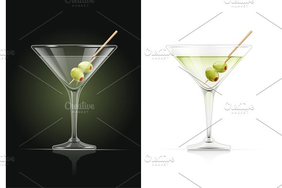Martini Glass Cocktail With Olive Illustrations Creative Market