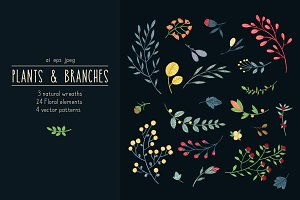 Plants & branches. Seamless pattern.