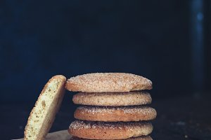 Stack of cookies on a dark backgroun
