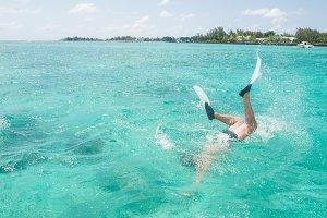 Man snorkelling in Mauritius