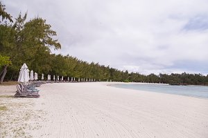 Volcanic rocks on beach paradise on