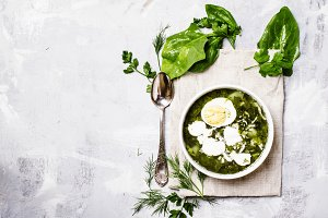 Traditional Russian soup with sorrel