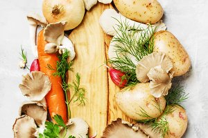 Food background, ingredients for coo