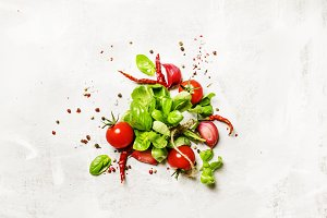 Food background, green basil and tom