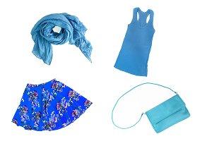 collage of fashionable blue female c