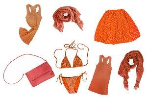 collage of fashionable orange-yellow
