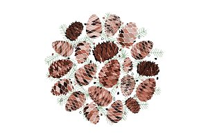 Cedar cone background, sketch for
