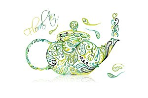 Teapot sketch with green tea for