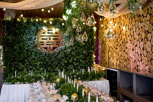 White dinner table decorated