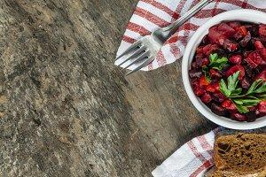 salad vinaigrette on a napkin on a r