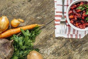 raw vegetables and fresh salad vinai