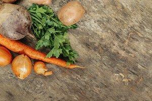 potatoes, carrots, onions, parsley,