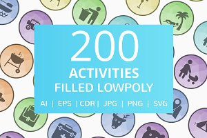 200 Activities Filled Low Poly Icons