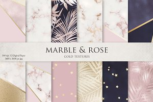 Marble, Rose, Gold, Navy & Textures