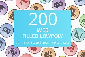 200 Web Filled Low Poly Icons