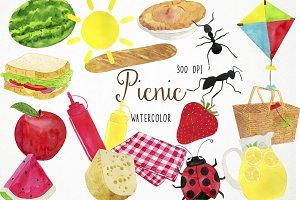 Watercolor Picnic Clipart