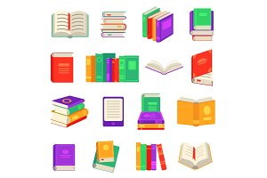 Paper and electronic books set with
