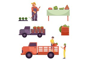 Vector flat farmer products delivery