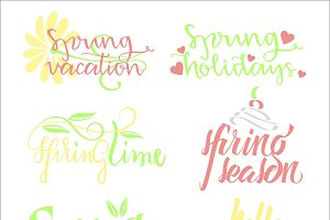 Spring Calligraphic Letterings Set