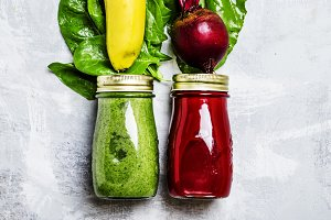 Detox smoothies from raw vegetables