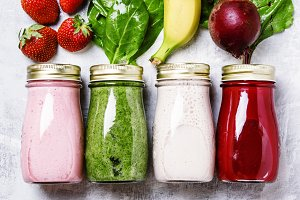 Multicolored juices and smoothies of