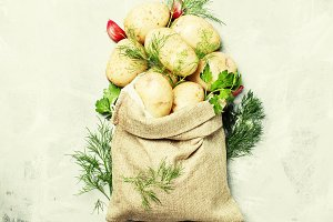 Raw potatoes in a linen bag, dill, p