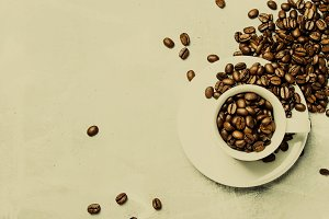 Coffee background, roasted coffee be