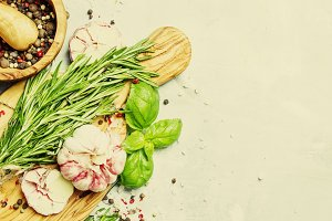 Food background, fresh rosemary, gre