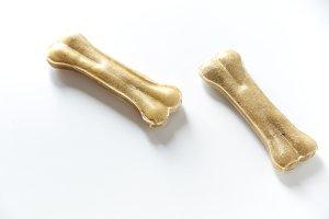 dog food bones isolated on white