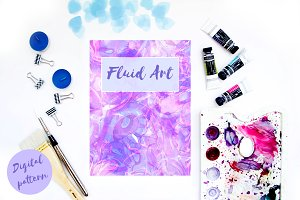 Watercolor fluid art pattern