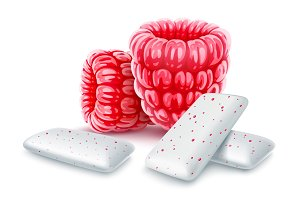 Pads of bubble gum with raspberry
