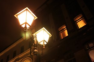 Glowing night street lamp