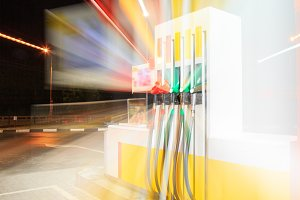 Petrol gas station with night lights