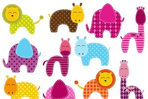 Patchwork Animals Vectors & Clipart