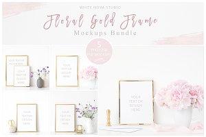 Floral Gold Frame Mockup Bundle
