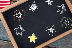 Stars drawings on blackboard