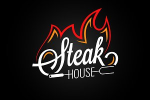Steak house logo with fire on black