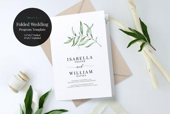folded wedding program template invitation templates creative market