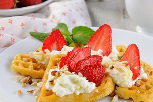 Belgian waffles with whipped cream