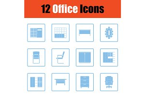 Office furniture icon set