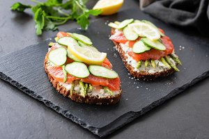 Appetizer sandwiches with salmon