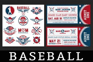Baseball labels and badges. Set 2
