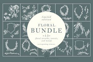 15 Floral Wreaths + Motifs BUNDLE