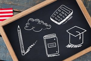 Education drawings on blackboard