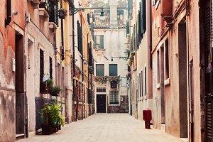 Narrow, old street in Venice, Italy