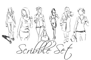 Set of fashion scribbles