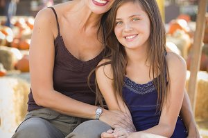 Attractive Mother and Daughter Portr