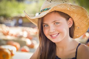 Preteen Girl Portrait Wearing Cowboy