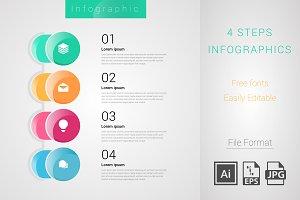 4 steps Circle Info graph