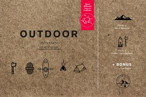 Outdoor Adventure Icon Set